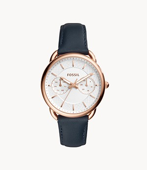 Tailor Multifunction Navy Leather Watch