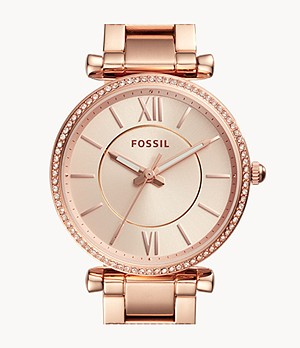 Carlie Three-Hand Rose-Gold-Tone Stainless Steel Watch