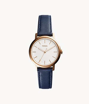 Neely Three-Hand Navy Blue Leather Watch