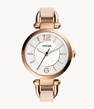 Georgia Three-Hand Blush Leather Watch