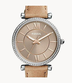 Carlie Three-Hand Sand Leather Watch