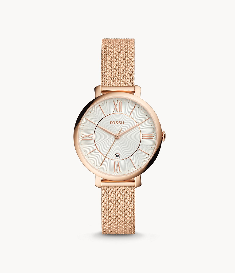 Jacqueline Three Hand Rose Gold Tone Stainless Steel Watch Es4352 Fossil