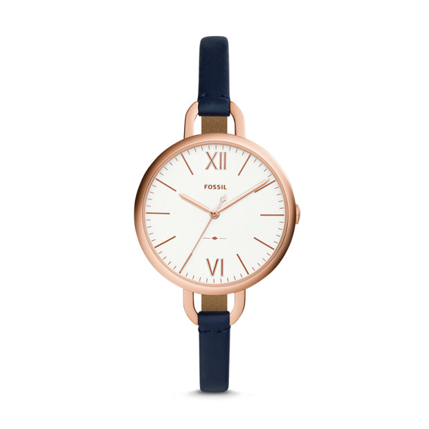 Fossil Annette Three-Hand Navy Leather Watch