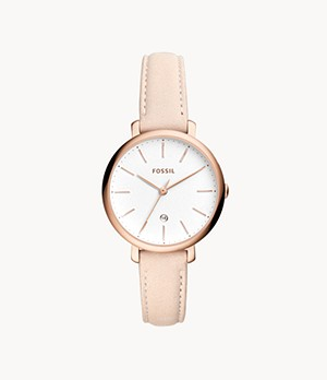 Jacqueline Three-Hand Date Pastel Pink Leather Watch