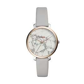 Jacqueline Three-Hand Mineral Grey Leather Watch