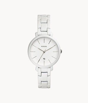 Jacqueline Three-Hand Date Pearl-White Stainless Steel Watch