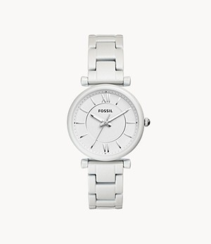 Carlie Three-Hand Pearl White Stainless Steel Watch