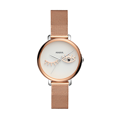 Jacqueline Wink Eye Three-Hand Rose Gold-Tone Stainless Steel Watch