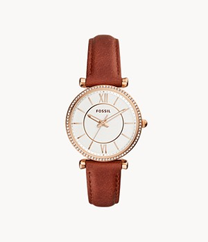 Carlie Three-Hand Terracotta Leather Watch