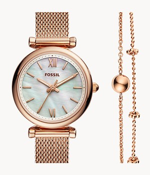 Carlie Mini Three-Hand Rose-Gold-Tone Stainless Steel Watch And Bracelet Box Set