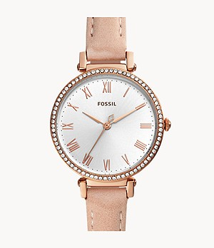 Kinsey Three-Hand Blush Leather Watch