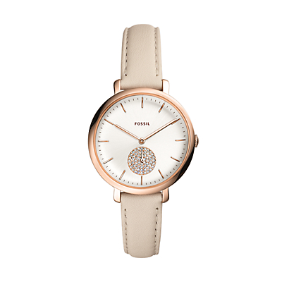 Jacqueline Multifunction Winter White Leather Watch