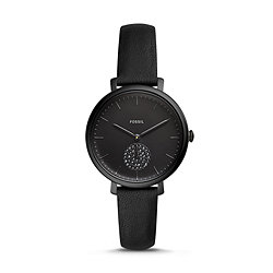 24251c9db Jacqueline Three-Hand Black Leather Watch