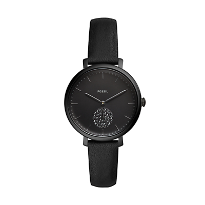 Jacqueline Three-Hand Black Leather Watch