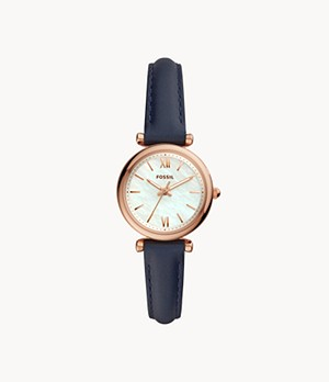 Carlie Mini Three-Hand Navy Leather Watch