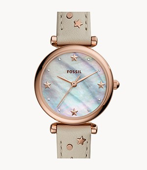 Carlie Mini Three-Hand Winter White Leather Watch