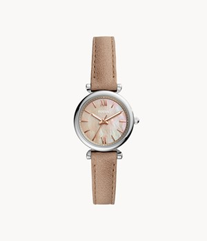 Carlie Mini Three-Hand Sand Leather Watch