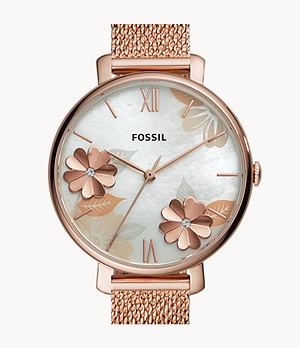 Jacqueline Three-Hand Rose-Gold-Tone Stainless Steel Watch