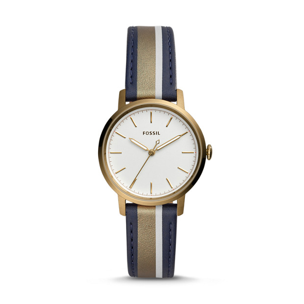 Neely Three Hand Antique Gold Tone Leather Watch by Fossil