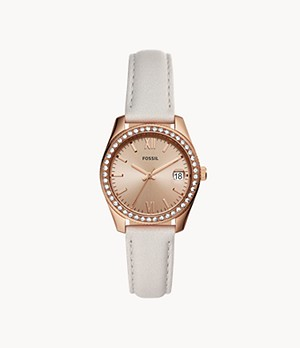 Scarlette Mini Three-Hand Date Mineral Grey Leather Watch