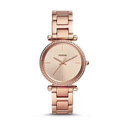 timeless design b99a1 f5953 Carlie Three-Hand Rose Gold-Tone Stainless Steel Watch