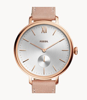Kayla Three-Hand Nude Leather Watch