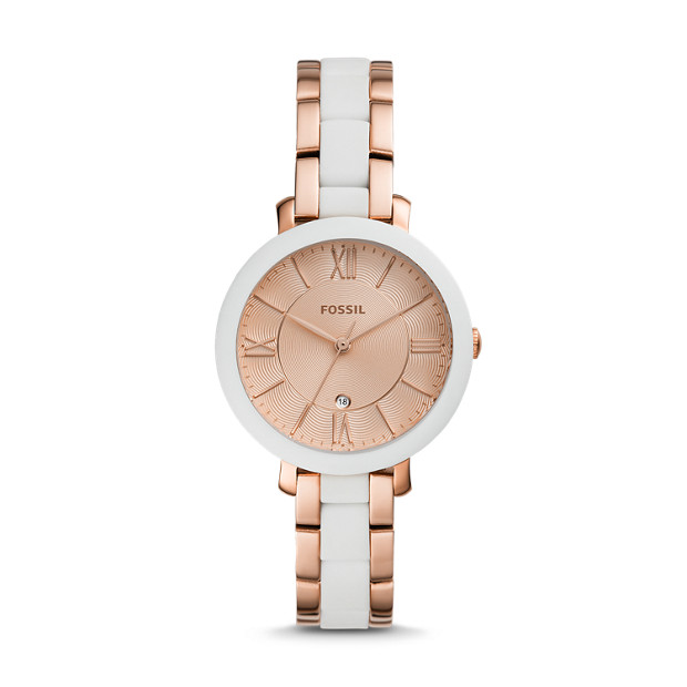 Jacqueline Three Hand Date Rose Gold Tone Stainless Steel Watch by Fossil