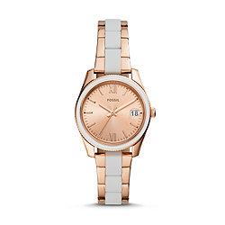 f38850885 Scarlette Mini Three-Hand Date Rose Gold-Tone Stainless Steel Watch