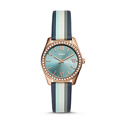 56645c3ab Scarlette Mini Three-Hand Date Striped Navy Leather Watch