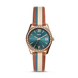 995b8c772 Scarlette Mini Three-Hand Date Striped Brown Leather Watch