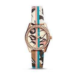 da1690d12 Scarlette Mini Three-Hand Striped Pattern Leather Watch