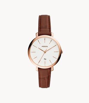 Jacqueline Three-Hand Date Brown Leather Watch