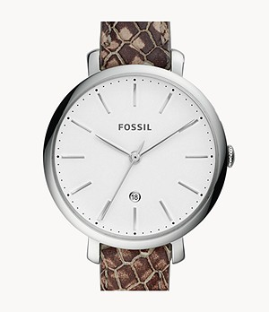 Jacqueline Three-Hand Date Grey Leather Watch