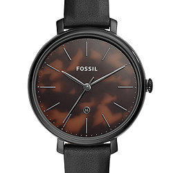 eaaf88c52 Jacqueline Three-Hand Date Black Leather Watch