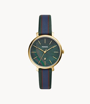 Jacqueline Three-Hand Date Dark Green Leather Watch
