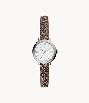 Jacqueline Mini Three-Hand Grey Leather Watch