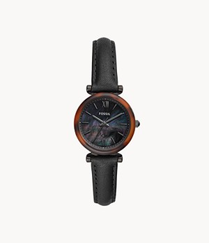 Carlie Mini Three-Hand Black Leather Watch