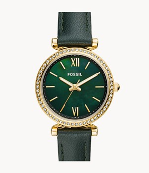Carlie Mini Three-Hand Dark Green Leather Watch