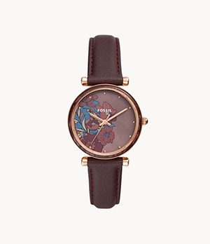 Carlie Three-Hand Fig Leather Watch