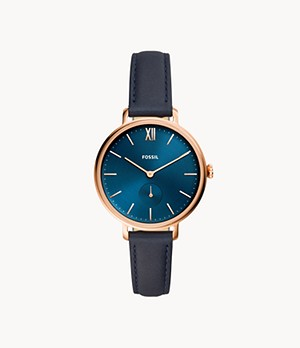 Kalya Three-Hand Navy Leather Watch