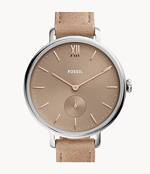 Kalya Three-Hand Blush Leather Watch