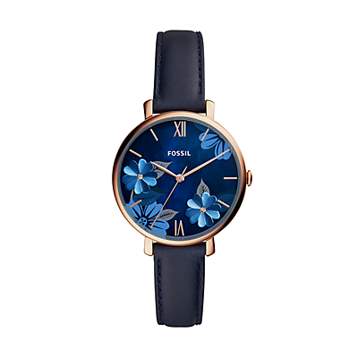 Jacqueline Three-Hand Navy Leather Watch