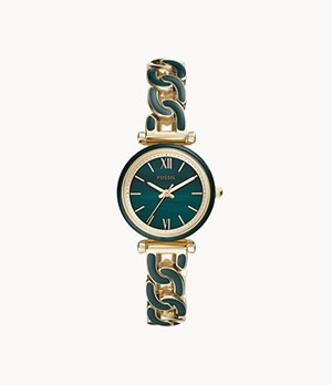 Carlie Mini Three-Hand Two-Tone Acetate and Stainless Steel Watch