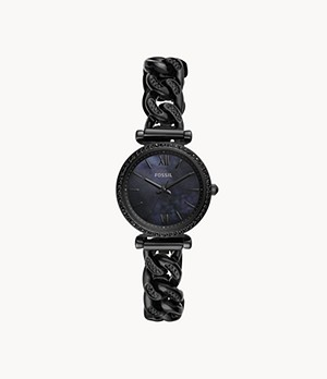 Carlie Mini Three-Hand Black Stainless-Steel Watch