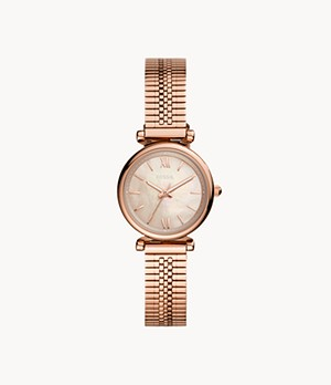 Carlie Mini Three-Hand Rose-Gold-Tone Stainless-Steel Watch