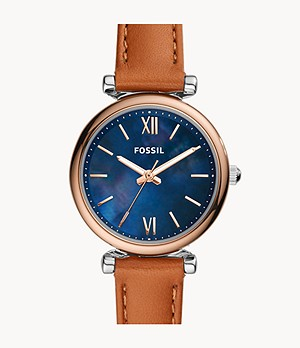 Carlie Mini Three-Hand Tan Leather Watch