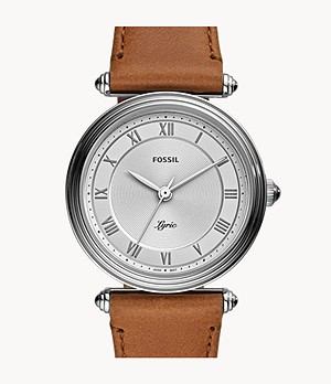 Lyric Three-Hand Brown Leather Watch
