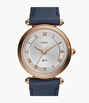 Lyric Three-Hand Navy Leather Watch