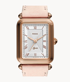 Lyric Three-Hand Blush Leather Watch
