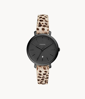 Jacqueline Three-Hand Faux Cheetah Hair Leather Watch